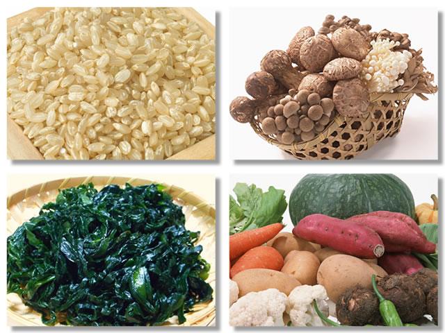食物繊維の多い食べ物である玄米やきのこ類やワカメやさつまいも