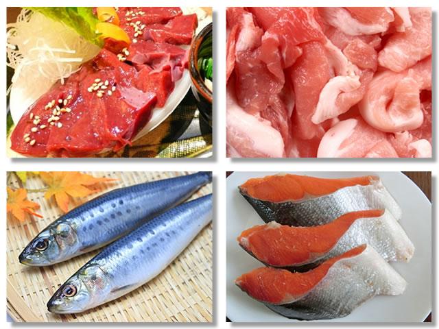 ヘム鉄の多い食べ物であるレバー、豚もも肉、いわし、鮭