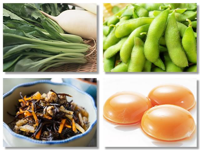 非ヘム鉄の多い食べ物であるほうれん草、枝豆、ひじき、卵黄