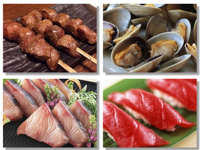 ヘム鉄の多い食べ物である鶏レバー、あさり、ぶり、まぐろ
