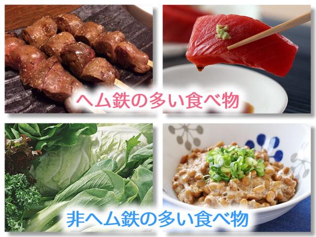 ヘム鉄と非ヘム鉄の多い食べ物