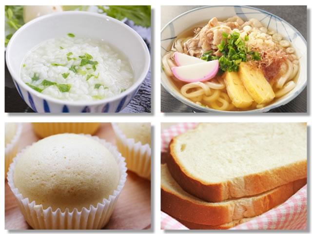 消化の良い炭水化物はおかゆ、うどん、蒸しパン、食パン