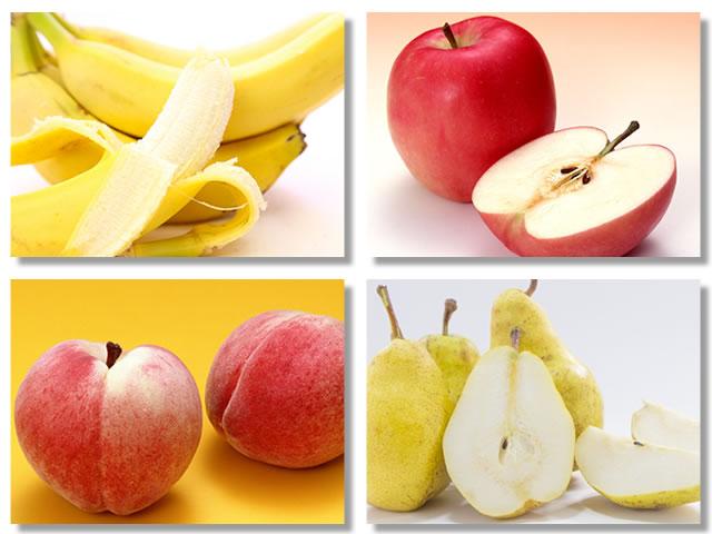 消化の良い果物はバナナ、りんご、桃、西洋なし