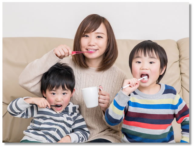 家族みんなでジェムペーストで歯磨き